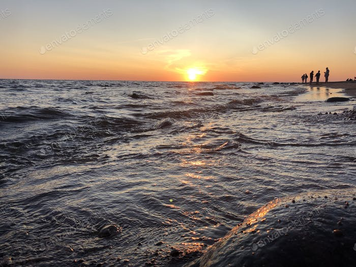 sunset, Baltic sea, summer
