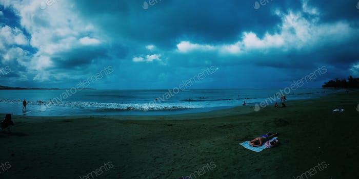 Stormy coastal weather