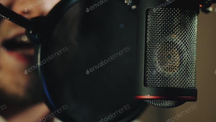 Microphone in recording studio