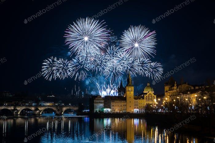 Prague New year's fireworks 2018