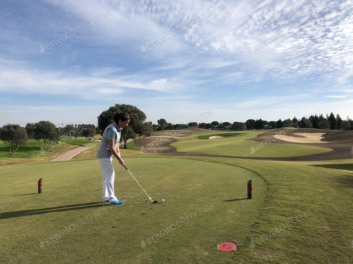 On the golf tee