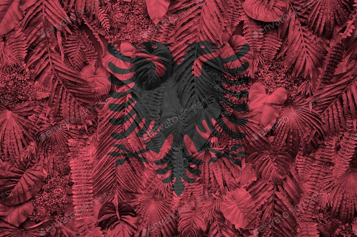 Albania flag depicted on many leafs of monstera palm trees. Trendy fashionable background