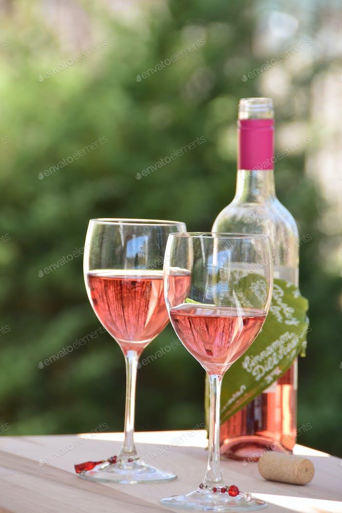 Enjoying wine, stemware & bottle outdoors. Nominated, with thanks 💕