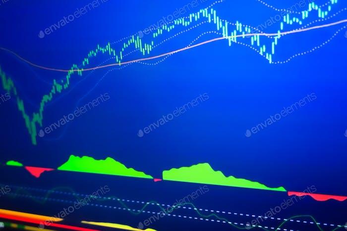 El mercado bursátil graba datos de inversión en pantalla