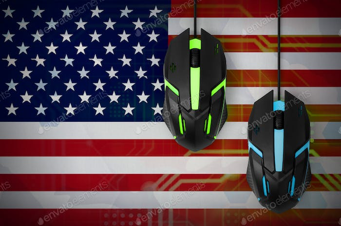 United States of America flag  and two modern computer mice with backlight
