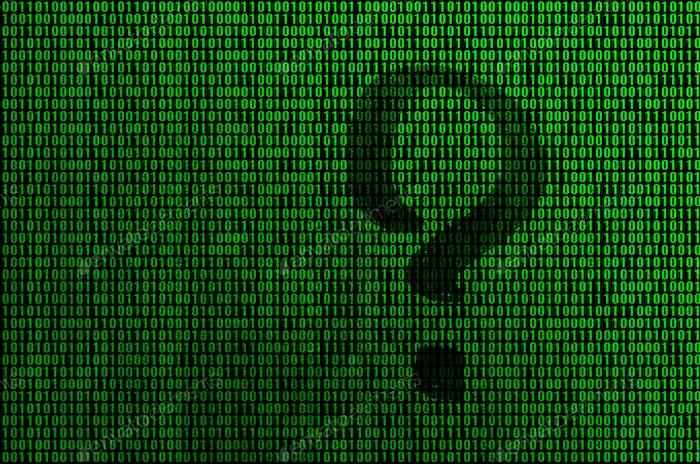 Una imagen de un código binario de dígitos de color verde brillante