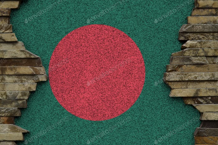 Bangladesh flag depicted in paint colors on old stone wall close up
