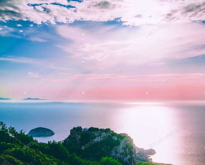 Island and sunset