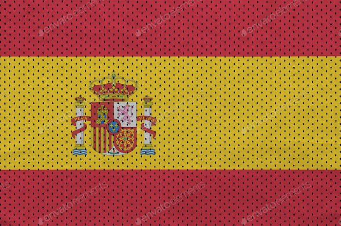 Spain flag printed on a polyester nylon sportswear mesh fabric with some folds