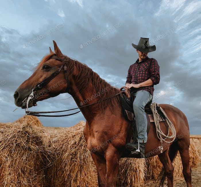 cowboy on horseback against a beautiful sunset