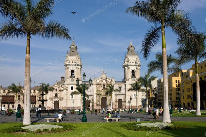 Lima Cathedral in the Plaza de Armes in central Lima in Peru, South America.