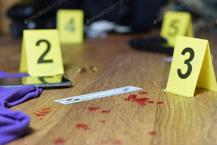 Id tents at crime scene after gunfight indoors