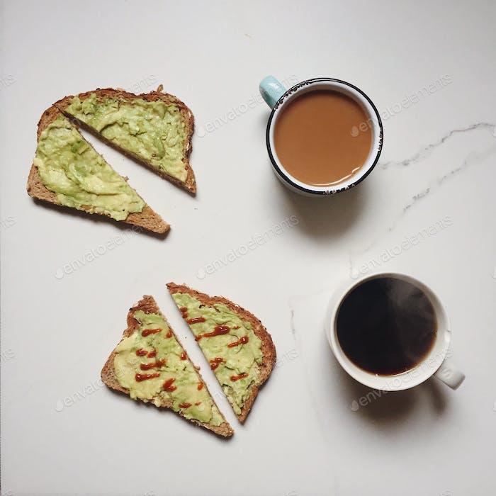 Coffee and avocado toast.