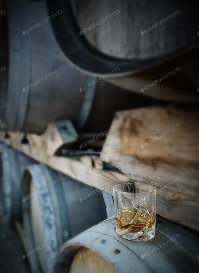 Whiskey on a barrel