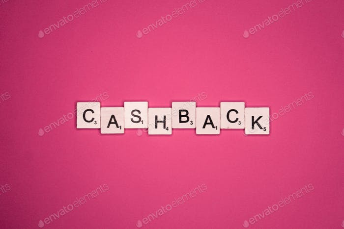 Cashback scrabble letters word on a pink background