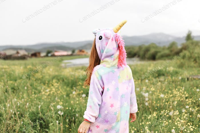 Unicorn girl meadow