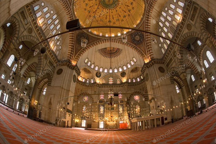 The interior of the Suleymaniye Mosque in Istanbul, Turkey