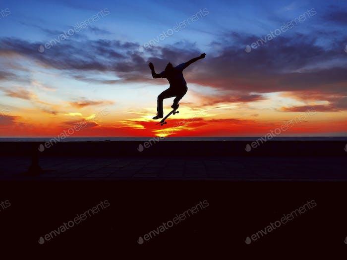Sunset. Skateboarding
