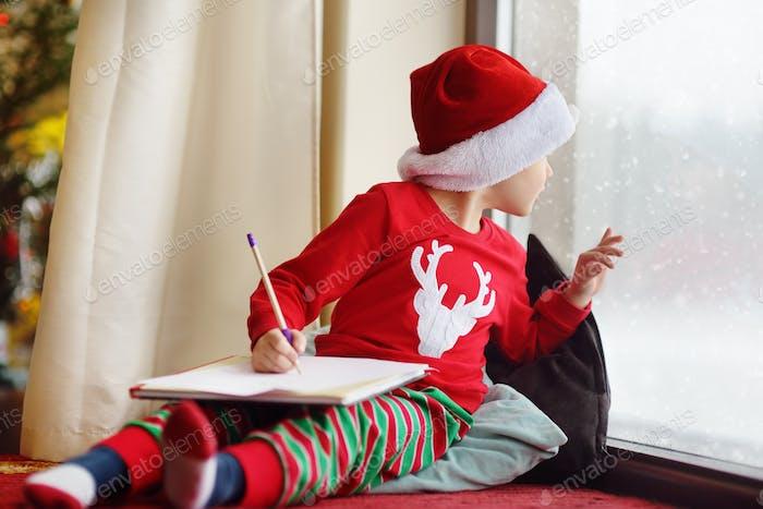 Brief, E-Mail, Weihnachtsmann, Junge, Schneefall, Schreiben, Weihnachten, Magie, Wunsch, Geschenk, Kind, Weihnachten, Kind