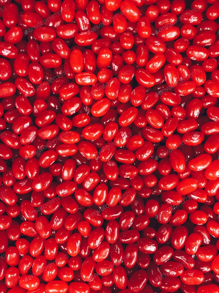 Red jellybeans candy in bulk