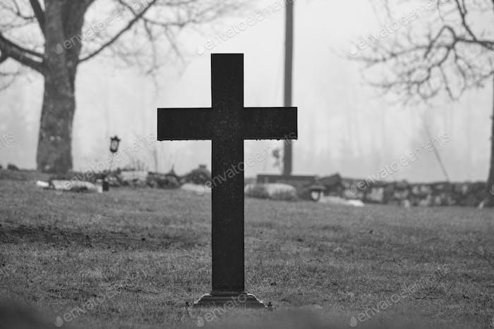 Cross on a graveyard