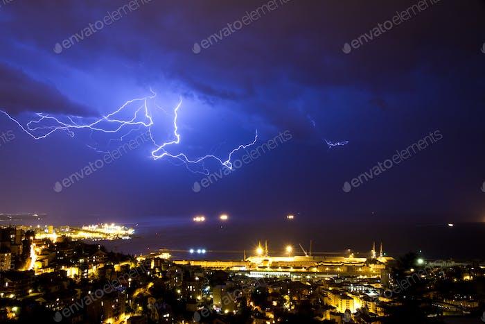 Lightening in Triest, Italien