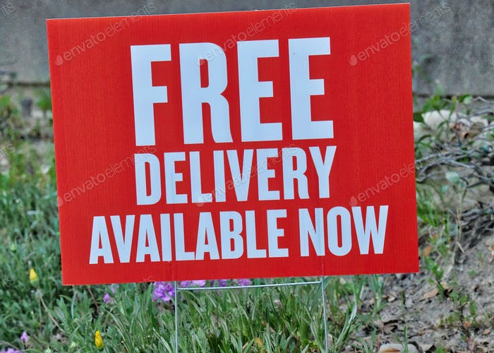 Free delivery available now sign