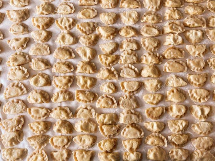 Freshly made pierogi, cooking, Polish food, dumplings, Polish dumplings, food from above