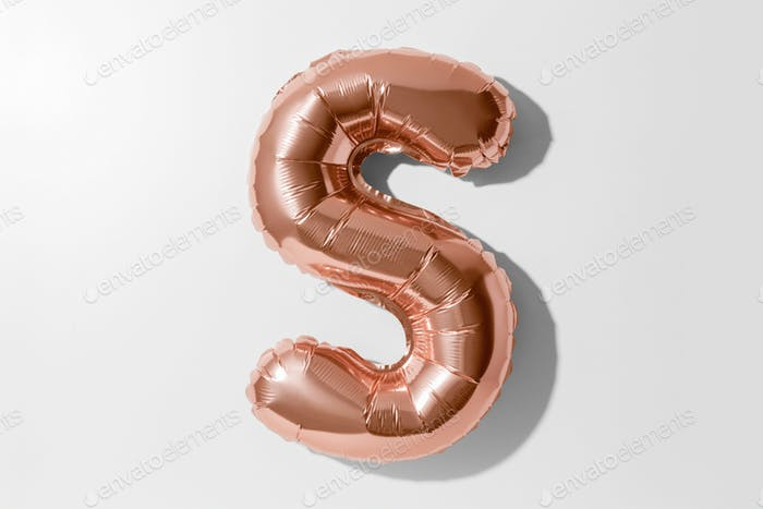 Letter S, Rose gold foil balloon alphabet isolated on a white background with Clipping Path