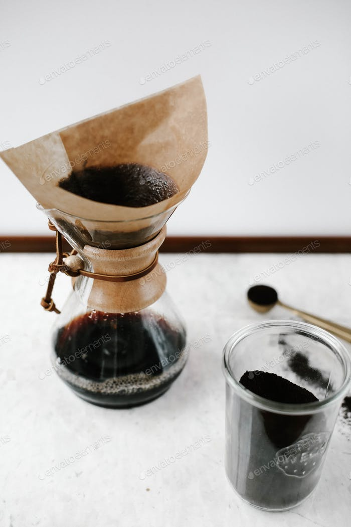 Chemex coffee maker and coffee cup