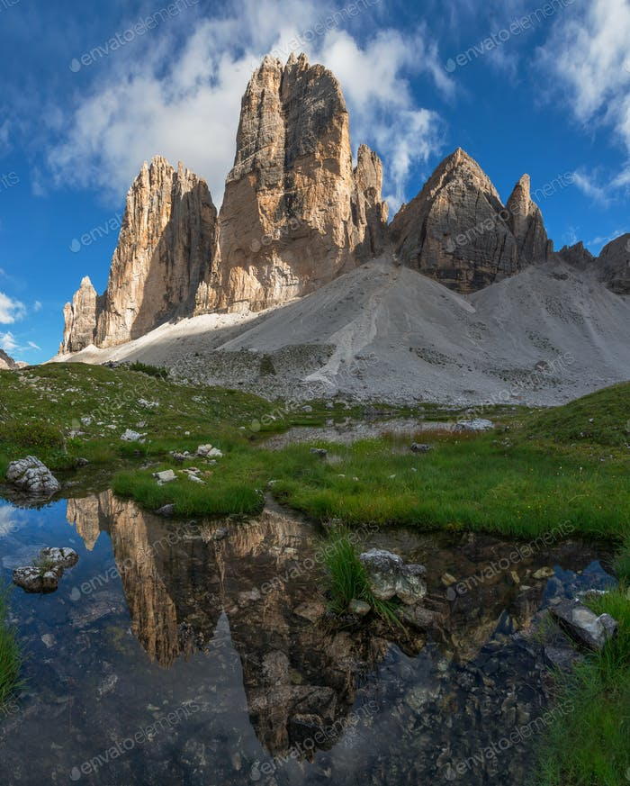 Mountain reflections in lakes by Tre Cime di Lavaredo in Dolomites