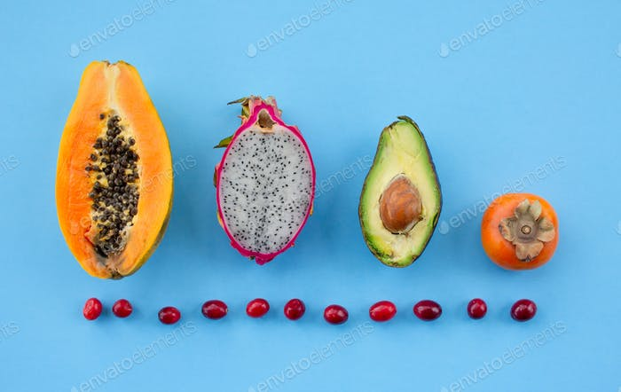 *Nominated* Fruit colorful flat lay of health and dragon fruit