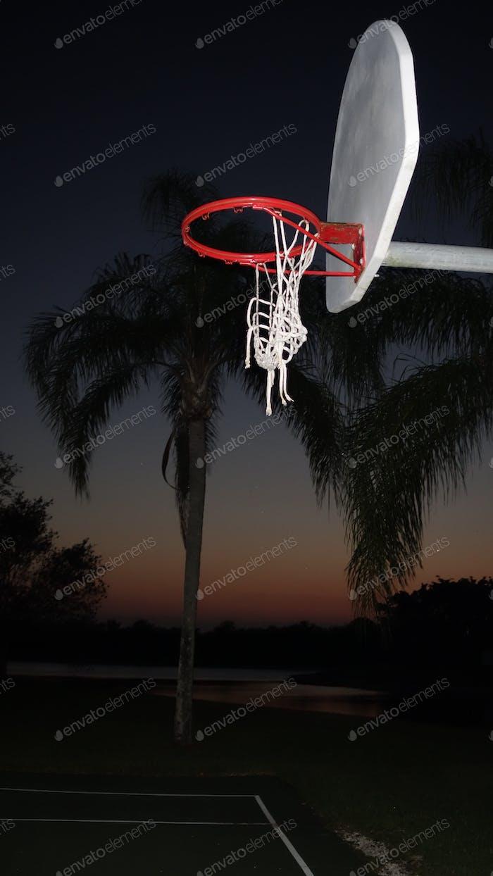 The Flash Of The Camera Illuminating A Basketball Hoop & Net