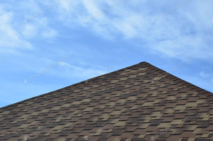 The roof of a residential house
