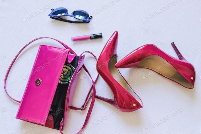 Pink shoes and clutch