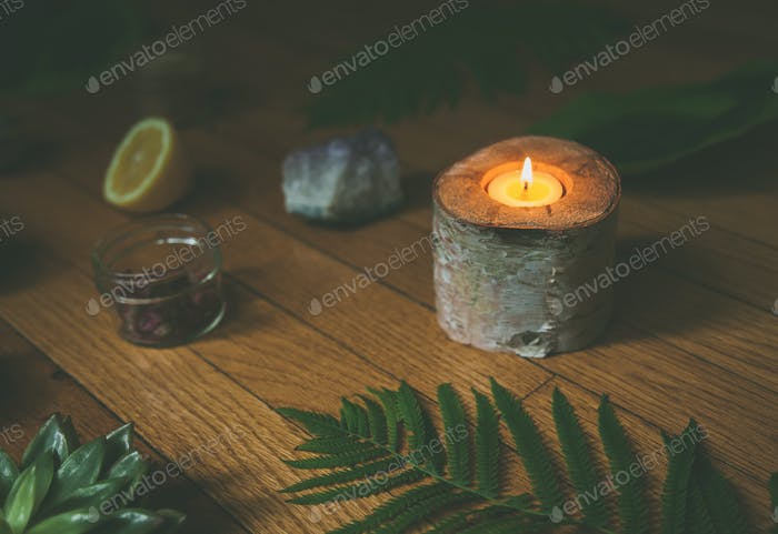 Boho health and wellness spa oriented still life background