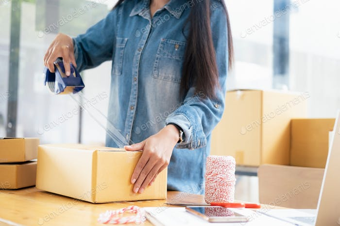 Young woman Online seller owner working for e-business commerce