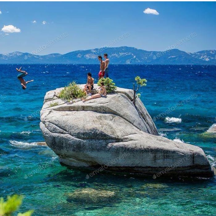 Bonsai Rock, Lake Tahoe. Gainer backflip.