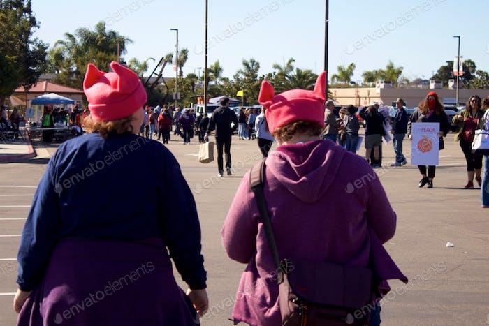 Women wearing pussy hats at women's march