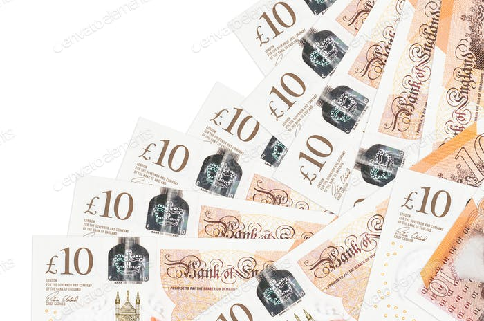 10 British pounds bills lies in different order isolated on white. Local banking or money making co