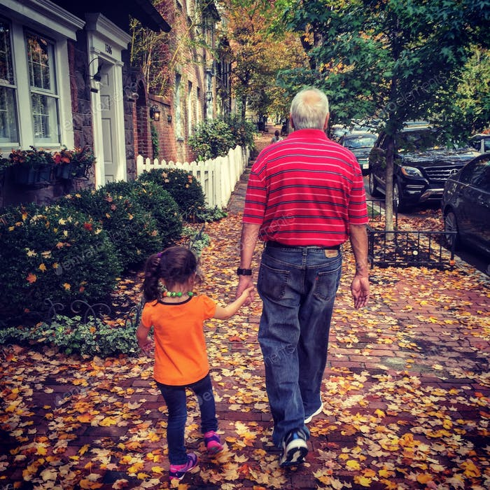 Taking a stroll with grandpa.....