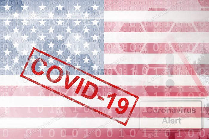 United States of America flag and futuristic digital abstract composition with Covid-19 inscription