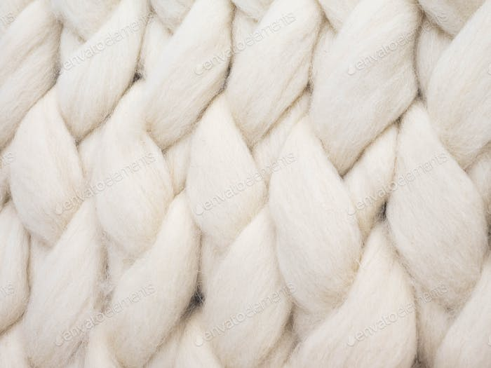 Merino wool handmade knitted large blanket, super chunky yarn, trendy concept