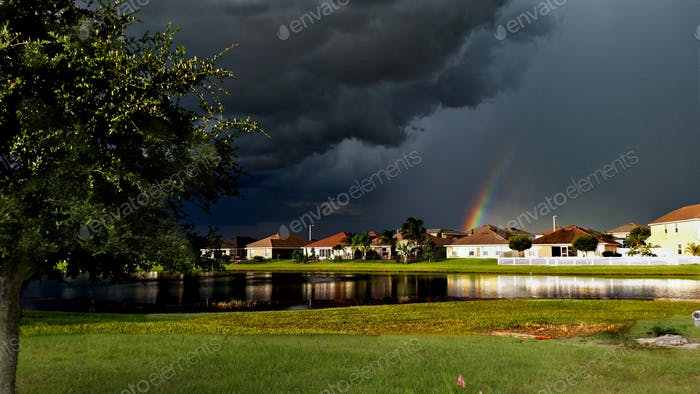 Intense severe storm over the Tampa Bay, Florida area