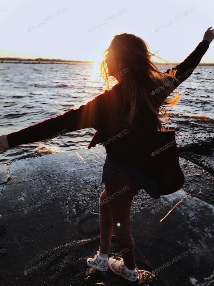 Enjoying life and freedom. Sunset