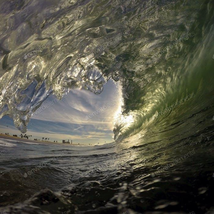 Crashing waves at Huntington Beach.