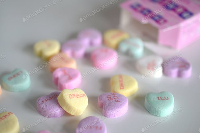 Conversation Hearts - Pastel candy hearts for Valentine
