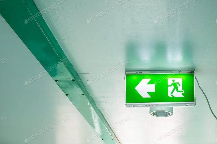 Emergency exit sign on interior building alarm