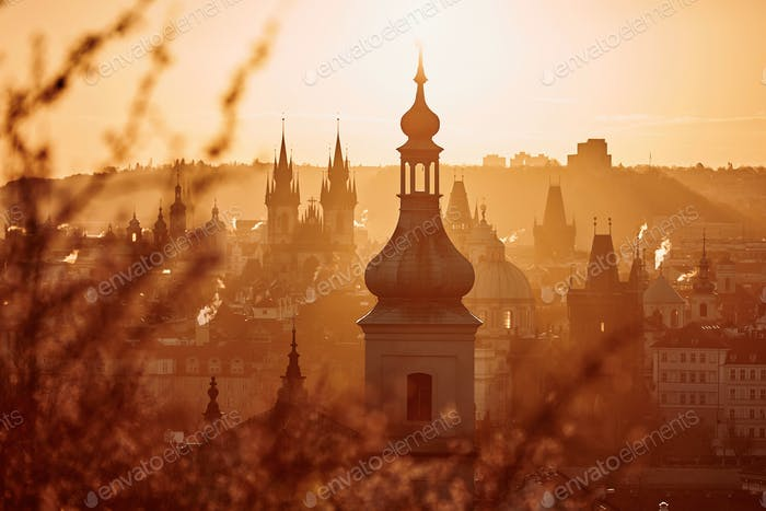 Prague skyline at amazing sunrise. Capital city of Czech Republic.