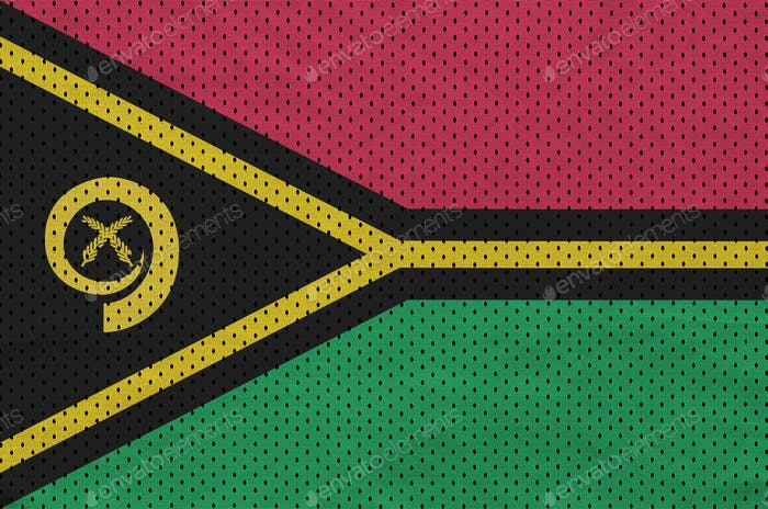 Vanuatu flag printed on a polyester nylon sportswear mesh fabric with some folds